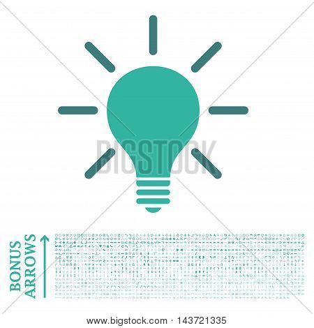 Light Bulb icon with 1200 bonus arrow and navigation pictograms. Vector illustration style is flat iconic bicolor symbols, cobalt and cyan colors, white background.