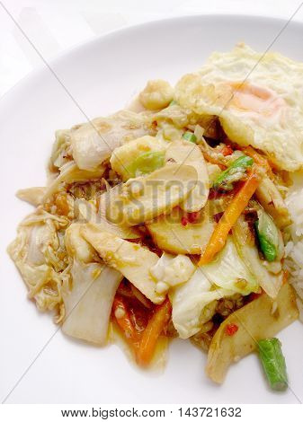Vegetarian Food With Fried Vegetables And Tofu On White Dish, Healthy Food