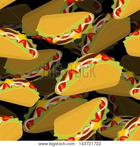 Taco 3D Background. Volume Texture Mexican Food. Tortilla Chips And Onion. Tomato And Fresh Meat