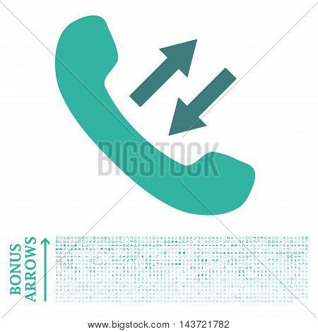 Phone Talking icon with 1200 bonus arrow and navigation pictograms. Vector illustration style is flat iconic bicolor symbols, cobalt and cyan colors, white background.