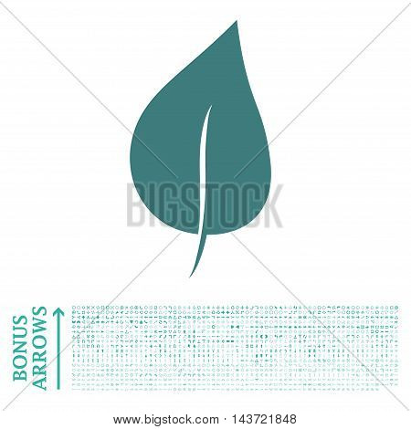 Plant Leaf icon with 1200 bonus arrow and direction pictograms. Vector illustration style is flat iconic bicolor symbols, cobalt and cyan colors, white background.