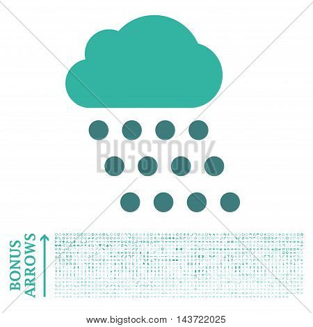 Rain Cloud icon with 1200 bonus arrow and navigation pictograms. Vector illustration style is flat iconic bicolor symbols, cobalt and cyan colors, white background.