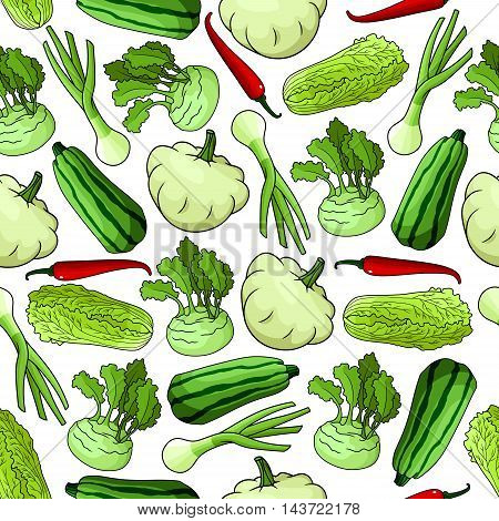Vegetables seamless background. Wallpaper with vector pattern of fresh farm food icons. Pepper, chili, squash, zucchini, leek, chinese cabbage, kohlrabi for grocery store, food market, vegetarian product shop