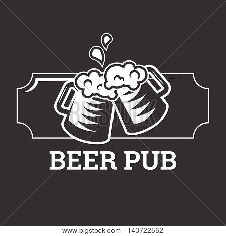 Beer insignia logo with glassware isolated on dark background. Beer mug. Vintage ale and lager emblem for brewery. Vector elements for label or badge design. EPS vector illustration.