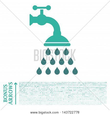 Shower Tap icon with 1200 bonus arrow and navigation pictograms. Vector illustration style is flat iconic bicolor symbols, cobalt and cyan colors, white background.