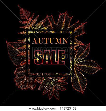 Sales banner with autumn leaves. Vector illustration.
