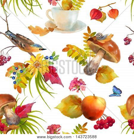 Watercolor autumn seamless pattern with mushroom, bird, teacup, flowers, oak and maple fall leaves, snail