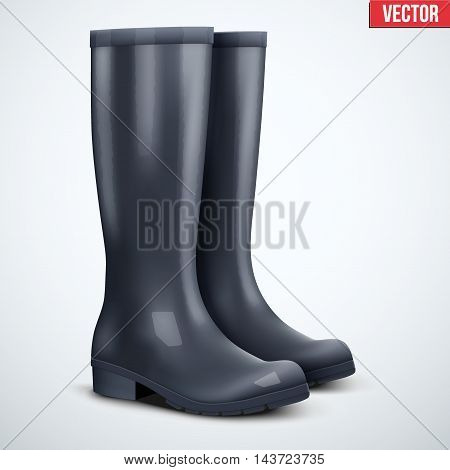 Pair of classic black rubber high boots. Symbol of hunting and fishing. Vector illustration Isolated on white background.