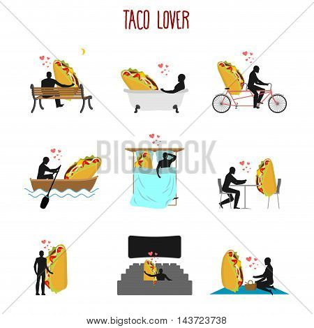 Lover Taco Set. Love To Mexican Food Collection. Man And Fastfood In Cinema. Lovers In Bath. Romanti