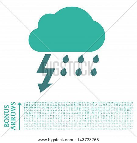 Thunderstorm icon with 1200 bonus arrow and navigation pictograms. Vector illustration style is flat iconic bicolor symbols, cobalt and cyan colors, white background.