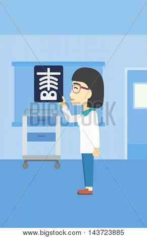 An asian female doctor examining a radiograph. Doctor looking at a chest radiograph in the medical office. Doctor observing a skeleton radiograph. Vector flat design illustration. Vertical layout.