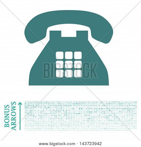 Tone Phone icon with 1200 bonus arrow and navigation pictograms. Vector illustration style is flat iconic bicolor symbols, cobalt and cyan colors, white background.
