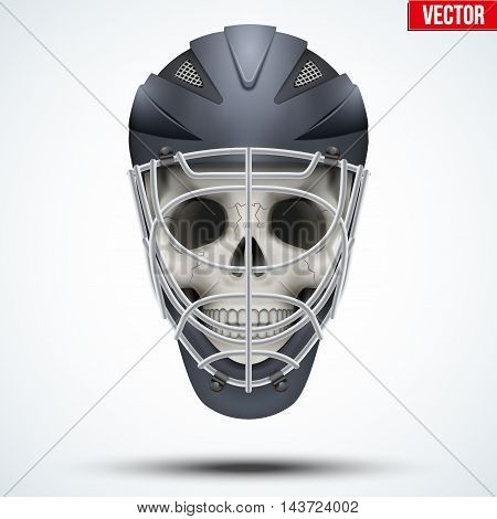 Human skull with Goalkeeper Ice and Field Hockey Helmet. Sport Equipment. Editable Vector illustration isolated on white background.