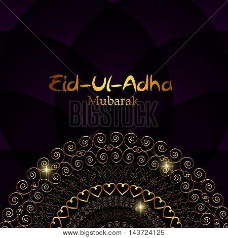 Vector Illustration of Beautiful Greeting Card Design 'Eid Adha'. Festival of Sacrifice EPS10