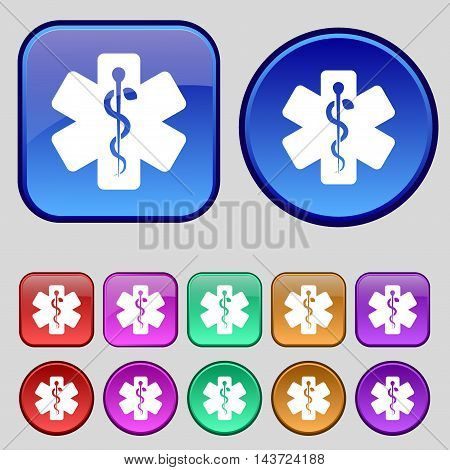 Medicine Icon Sign. A Set Of Twelve Vintage Buttons For Your Design. Vector
