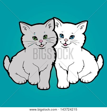 Vector illustration with two little funny nice white and grey persian smiling kitten. White cat with light blue eyes,grey cat with green eyes. Positive cats on the green blue background,