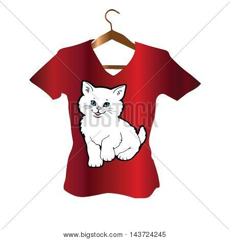 T-Shirt stylish Design with white persian with blue eyes cat on the bright red background.