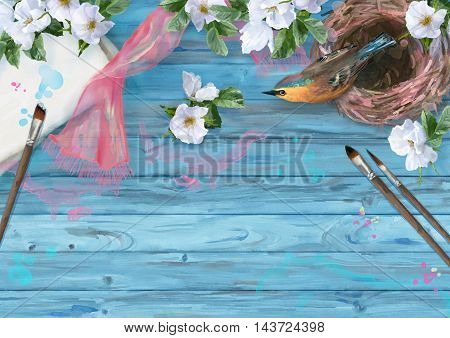 Watercolor top view composition. Paper sheet with paintbrush, bird at nest, silk scarf and white summer flowers on wooden background