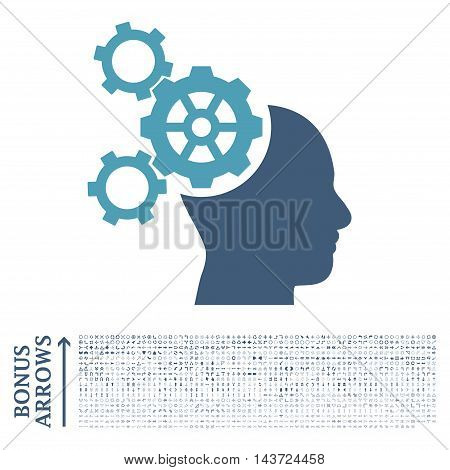 Brain Mechanics icon with 1200 bonus arrow and navigation pictograms. Vector illustration style is flat iconic bicolor symbols, cyan and blue colors, white background.