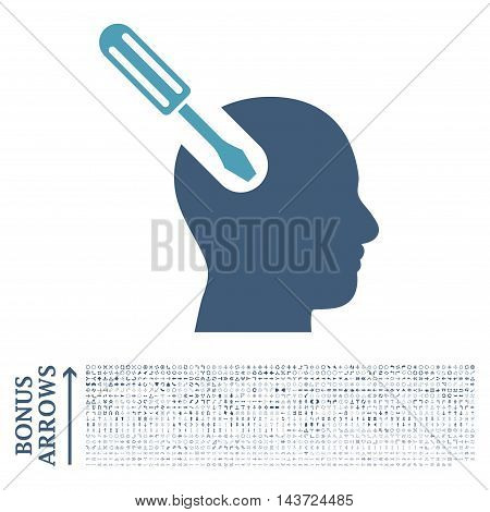 Brain Tool icon with 1200 bonus arrow and direction pictograms. Vector illustration style is flat iconic bicolor symbols, cyan and blue colors, white background.