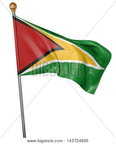 National flag for country of Guyana isolated on white background, 3D rendering