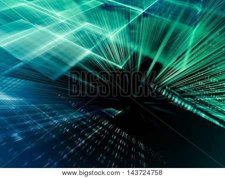 Abstract background element. Fractal graphics series. Three-dimensional composition of intersecting grids and motion blur. Information technology concept.