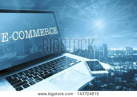 E-COMMERCE : Grey computer monitor screen. Digital Business and Technology Concept.