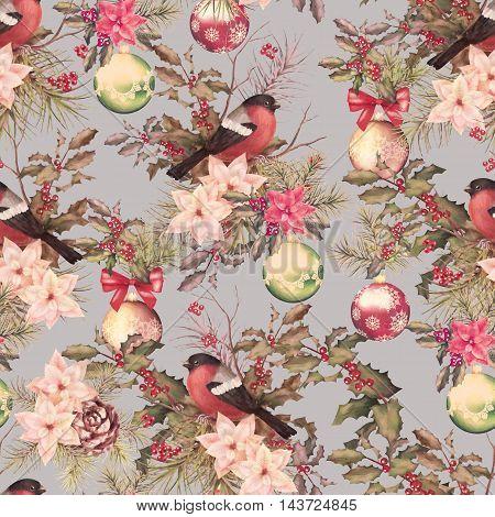 Christmas retro seamless pattern. Bird bullfinch, poinsettia flowers with Rowan and Holly branch