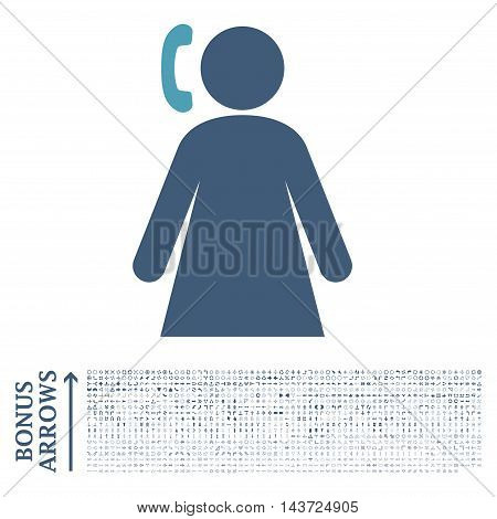 Calling Woman icon with 1200 bonus arrow and navigation pictograms. Vector illustration style is flat iconic bicolor symbols, cyan and blue colors, white background.