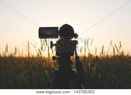Video of the sunset in the field
