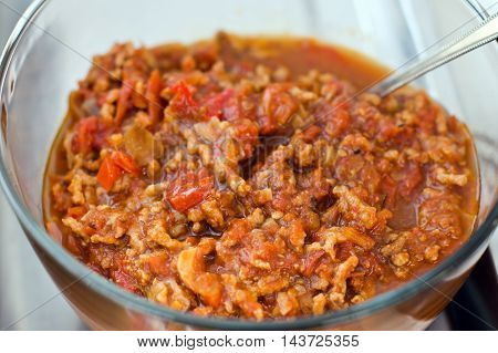Thai Cuisine Nam Prik Or Chili Paste Mixes With Fish Serves With Various Vegetables