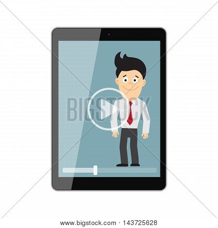Online learning concept. Isolated tablet screen with teacher, businessman or colleague. Webinar or online training concept. Vlogging and video blogger.