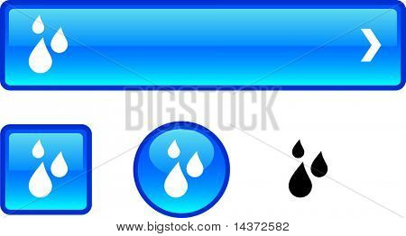 Rain web buttons. Vector illustration.