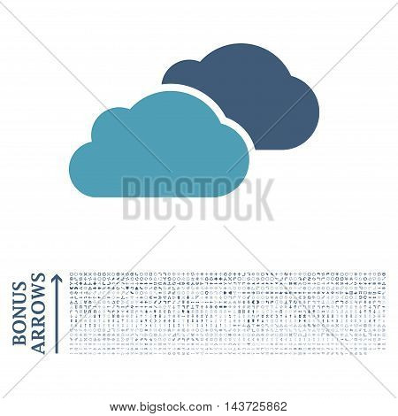 Clouds icon with 1200 bonus arrow and navigation pictograms. Vector illustration style is flat iconic bicolor symbols, cyan and blue colors, white background.