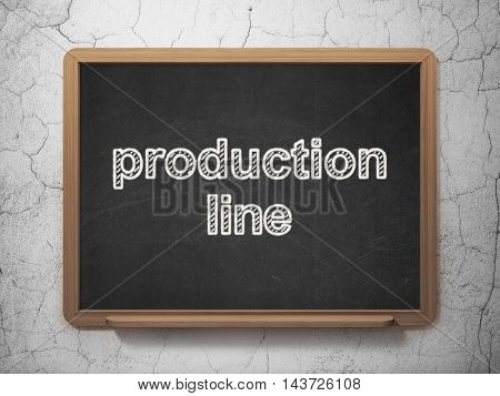 Industry concept: text Production Line on Black chalkboard on grunge wall background, 3D rendering
