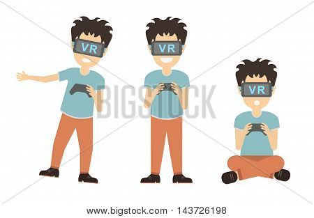 Isolated vr man. Young smiling man using vr glasses on white background. Augmented reality, new technologies. Video game.