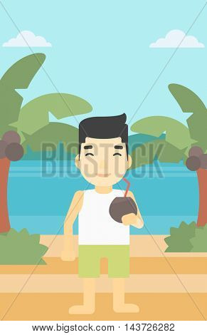 An asian man with a coconut cocktail on the beach. Man drinking a coconut cocktail on the beach. Man enjoying his vacation. Vector flat design illustration. Vertical layout.