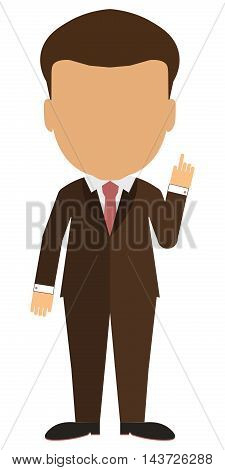 Isolated cartoon businessman. White background. Consultant, colleague, office worker or boss and more. Template blank face.