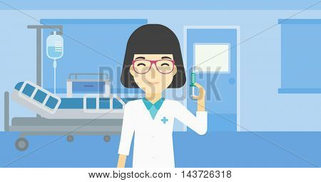 An asian female doctor holding medical injection syringe. Doctor with syringe in hospital ward. Doctor holding a syringe ready for injection. Vector flat design illustration. Horizontal layout.