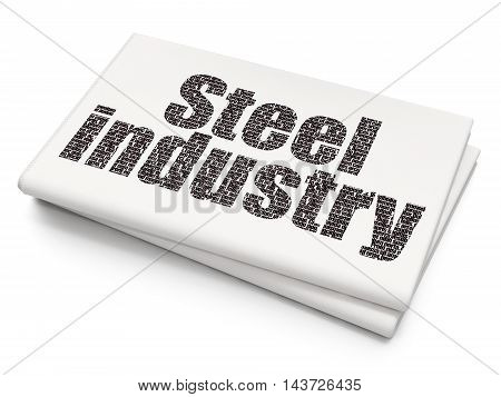 Industry concept: Pixelated black text Steel Industry on Blank Newspaper background, 3D rendering