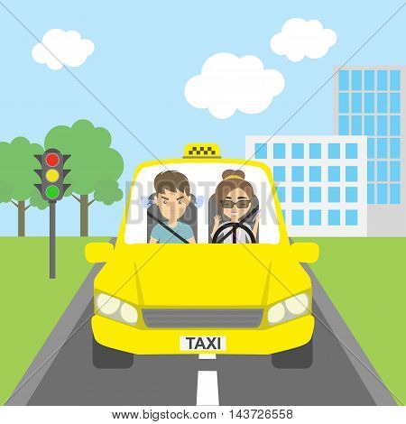 Woman taxi driver with passenger. Riding on the city street. Yellow car for urban service. Thoughtless female driver and angry male passenger.