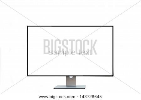 Blank monitor wide screen with sample text on isolated white background.