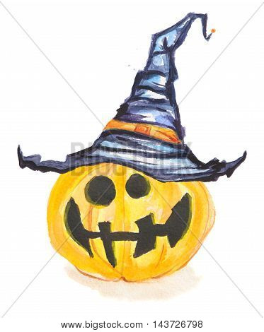 Watercolor pumpkin with witch hat. Spooky pumpkin with scary face and hat for Halloween. October festival.