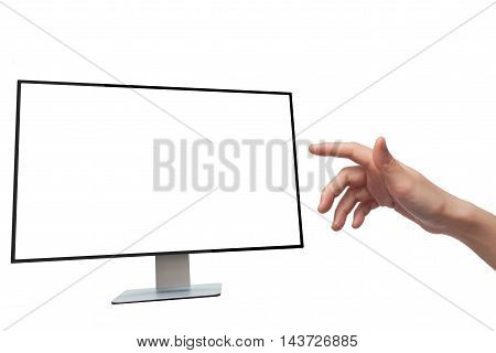 human hand visual touching blank screen computer on white background.