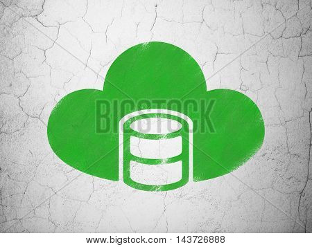 Programming concept: Green Database With Cloud on textured concrete wall background
