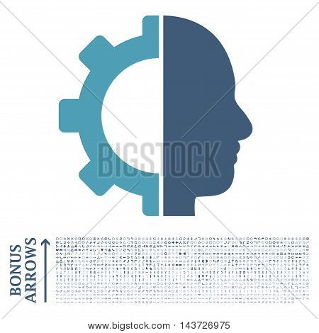 Cyborg Gear icon with 1200 bonus arrow and direction pictograms. Vector illustration style is flat iconic bicolor symbols, cyan and blue colors, white background.