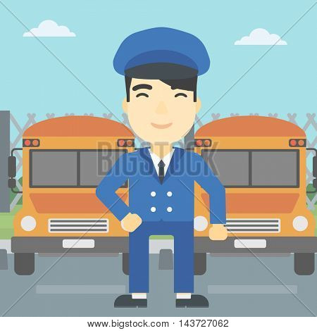 An asian school bus driver standing in front of yellow bus. Vector flat design illustration. Square layout.