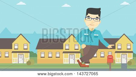 An asian young male real estate agent standing near the house. Real estate agent leaning on the house. Real estate agent offering house. Vector flat design illustration. Horizontal layout.