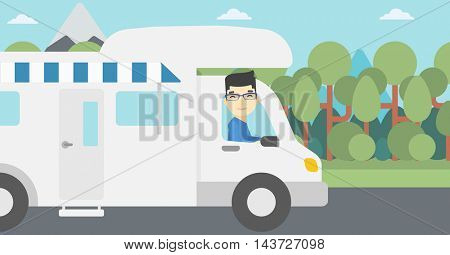 An asian man driving a motor home in the forest. Man travelling by camper van. Vector flat design illustration. Horizontal layout.