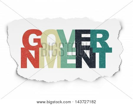 Politics concept: Painted multicolor text Government on Torn Paper background